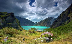 There she was, the first time I saw her (lantaw.com) Tags: lake clouds trek philippines cyan trekkers crater hikers pinatubo cokin gnd