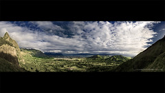 Windward Morning from the Pali (Rex Maximilian) Tags: ocean sky panorama mountain clouds hawaii oahu kaneohe windward palilookout kailua palihighway highelevation