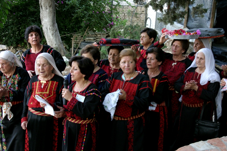 Palestinian Women in Traditional Dress in BirZeit  Ramallah