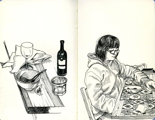 bozeman sketchcrawl: still life at harvey and robbye's and linda with soup