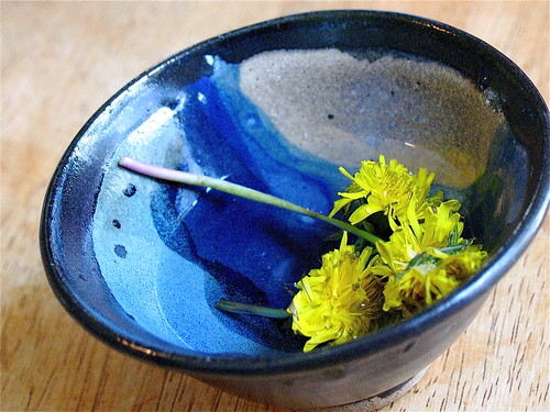 blue bowl with yellow flowers