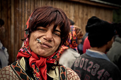 Gypsy (Mieszko Stanislawski) Tags: poverty portrait woman smile face proud female scarf workers employment cigarette smoke traditional homeless poor social smoking problem independent romania brave 5d nomad society minority gypsy job legend rom gypsies romanian indigenous unemployment cygan maramures bucovina rumunia cyganie