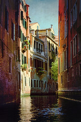 Backstreet Canal, Venice (sminky_pinky100 (In and Out)) Tags: blue venice houses homes red italy orange plants green water beautiful yellow dark landscape canal pretty apartments shadows architectural historic shutters classical picturesque brickwork windowboxes personalbest 5photosaday bej abigfave omot eyejewel