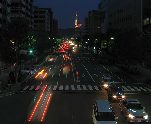 sendai night traffic