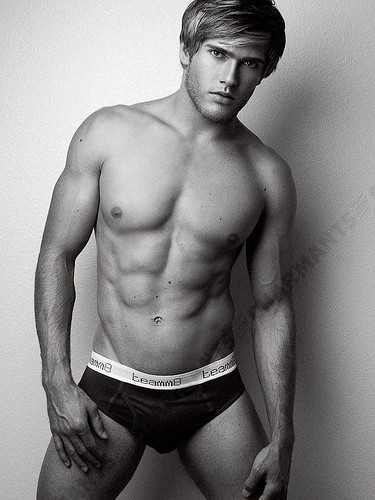 shirtless hunk Adam Phebus sexy american male model pose so hot