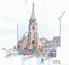 2009.05.10 Scheveningen - Keizerstraat (Maarten Ruijters) Tags: church watercolor sketch drawing scheveningen kirche townscape kerk eglise oudekerk croquis skizze keizerstraat maartenruijters