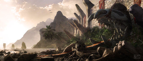 Island Temple Matte Painting