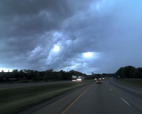 Dark sky over Akron Ohio