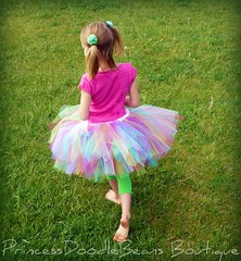 A Colorful Pose (PrincessDoodleBeans Boutique) Tags: party ballet color cute girl pose outside dance model backyard child handmade michigan girly craft boutique barefoot punch etsy pigtails custom tulle tutu princessdoodlebeans