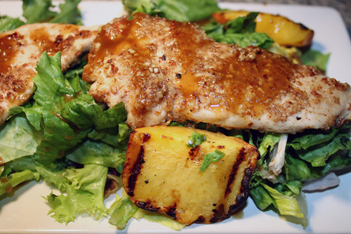 Pecan Chicken Salad with Grilled Peaches 1