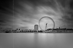 (Claire Hutton) Tags: uk longexposure england blackandwhite bw motion london water wheel clouds river observation movement londoneye ferris spinning riverthames embankment countyhall hungerfordbridge shellcentre ndfilter 10stop nd1000 nd110 bw110 leefilters 06nd 09ndgrad