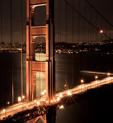 Golden Gate (kaoni701) Tags: sanfrancisco california longexposure bridge motion blur architecture night dark landscape golden bay dusk marin structure goldengate coittower shutter bayarea headlands transamerica longshutter