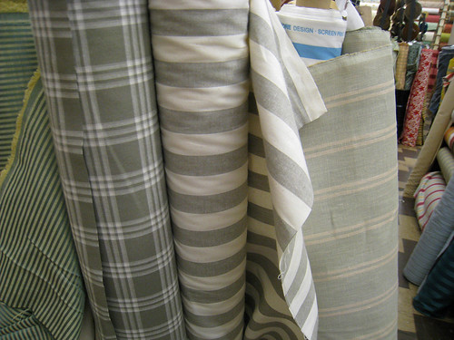 gray and green check & stripe fabric