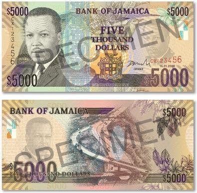 Jamaica 5000 banknote