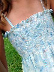 Shirred Blue and Brown Butterfly Sundress Shirring