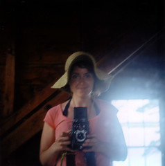 candace loves turtle island (candace hope) Tags: selfportrait color 120 mediumformat newhampshire ishootfilm turtleisland kodak160vc lakewentworth yashicamat124 june2009 girlwithatlr candacehope yearofselfportraits alittleblurrybutidontmind ihatethisfilmandvownevertouseitagain