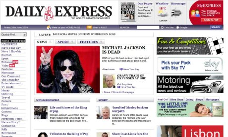 Old Express homepage
