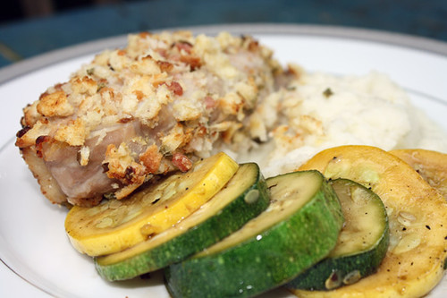 Bacon Crusted Pork Chops with Turnip Puree and Squash 1