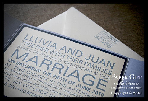 Lluvia & Juan: Blue Block Type Wedding Invitations