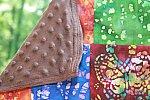 Batik Patchwork Blanket with Brown Minky