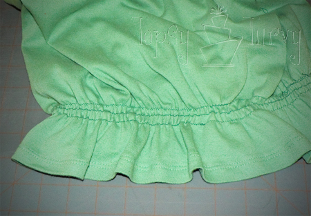 green shirt curls swirls adult kids hem waist elastic thread