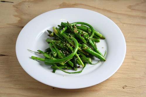Asparagus and Garlic Scape Stirfry