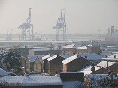When Mediterranean Sea become the North Sea (Lolo_) Tags: sea mer snow port marseille mediterranean rooftops harbour north cargo cranes neige toits grues