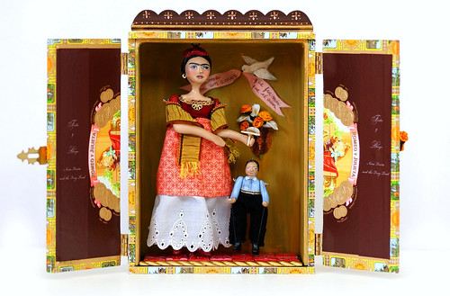 Cigar Box Shrine~Frida Kahlo Doll and Diego Rivera Marionette