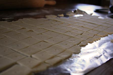 Crackers, prior to baking