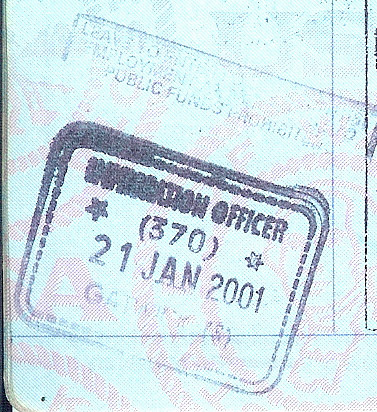 Passport Stamp - Gatwick - 21 Jan 2001