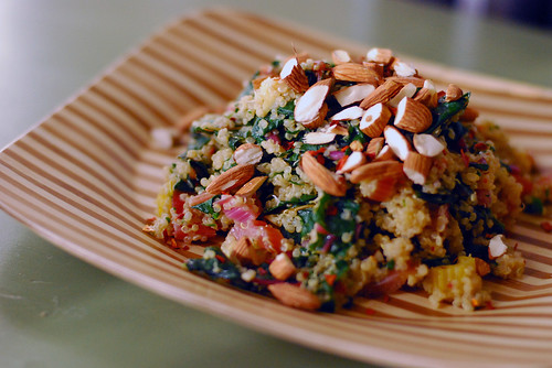 Coconut Quinoa with Rainbow Chard and Almonds