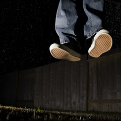 Elevating Earthling (b*wag) Tags: sky grass night fence floating abcs e vans elevate earthling fgr strobist flickrgrouproulette 2009yip 3652009 februarysalphabetfun