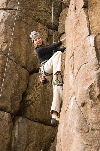 Liz climbing on North Table Mtn