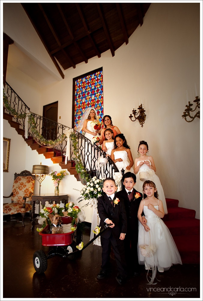 stairs wedding dual portrait with everyone preparation dressing up chapel of roses negative space