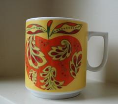 psychedelic apple mug (Peacock Modern) Tags: red orange apple cup yellow vintage mug etsy peacockmodern