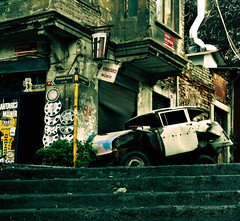 nothing changes (Fotis ...) Tags: old car shop turkey rust crashed decay steps istanbul
