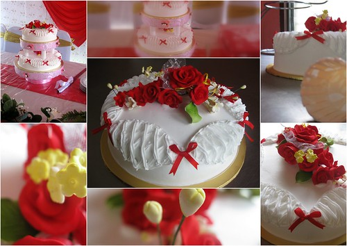 2 tiers red & white wedding cakes