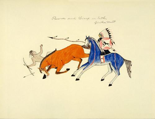 031-Pinturas indias Sioux 1938- guerrero Pawnee vencido por lancero Sioux