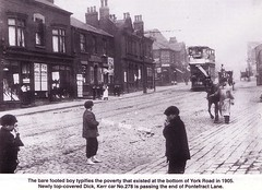 York Road 1905 (Nighthawk6359) Tags: leeds westyorkshire nomoney noshoes yorkroad leedscitytransport childpoverty cityofleeds pontefractlane leedscitytramways leedspoverty poortimes