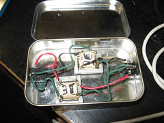 Stereo audio isolation transformer in altoids tin