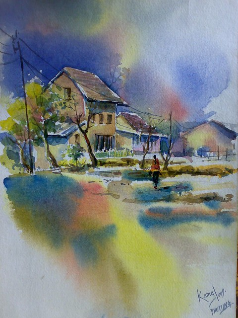 Nepal watercolor landscape painting by Kamal Gurung