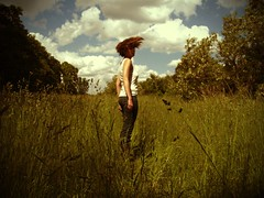 (dlemieux) Tags: blue summer woman selfportrait motion green home me grass clouds hair wind may dlemieux saturday arboretum diana today tones roslindale