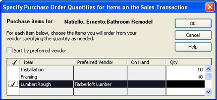Select items to include in PO
