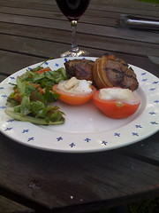 iLamb (JGU71) Tags: food cheese dinner tomato olive bbq grill lettuce butcher tuesday oil garlic lamb vinegar balsamic monday parsley grilled coriander cilantro herb mesa vino iphone overate 50club chvre