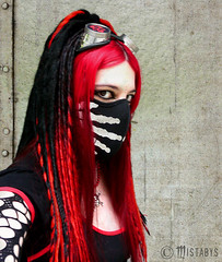 cyber-goth girl (mistabys) Tags: red portrait girl strange beauty fashion lady dark model industrial darkness fear gothic goth creepy freak gothique alternative cyber cybergoth undergroung