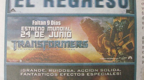 Anuncio Revenge of the Fallen en La Nación