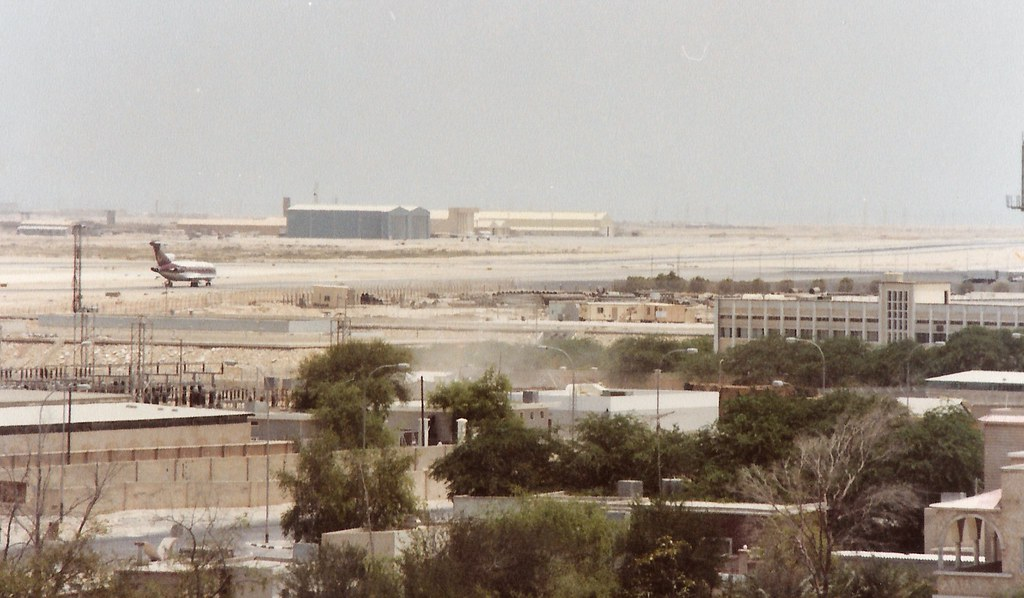 Sheikh's jet... State of Qatar Amiri Flight Boeing 727 ( Amiri Two ) A7-AAB taxiing back to the terminal after landing on runway 34 at DOH - circa 1980's