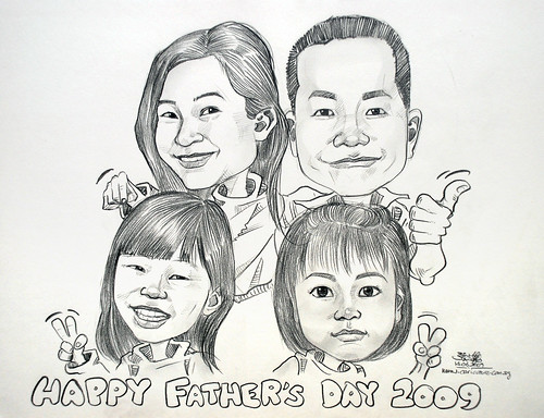 Family caricature in pencil 140609