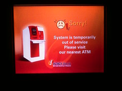 ICICI bank ATM error message