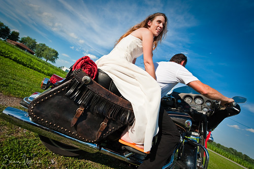 Bride Riding Out On Her Man's Harley